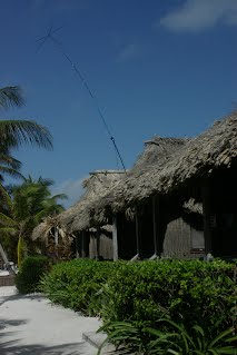 Budipole in the vertical position with a capacitance hat on a recent holiday to Belize and had about 300 QSOs as V31ZF